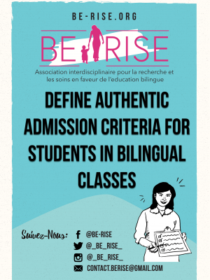 Define authentic admission criteria for students in bilingual classes