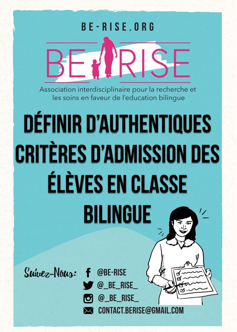 définir critères admission des élèves en classe bilingue