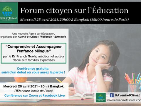 « Comprendre et Accompagner l'enfance bilingue » un forum citoyen par Avenir et Climat en présence du Dr Scola, à revoir en ligne.